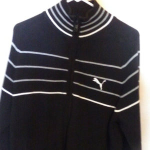 Puma Men's Black Jacket Striped Puma Logo size M